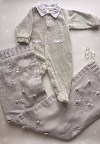 Mintini Grey Velour Baby Grow
